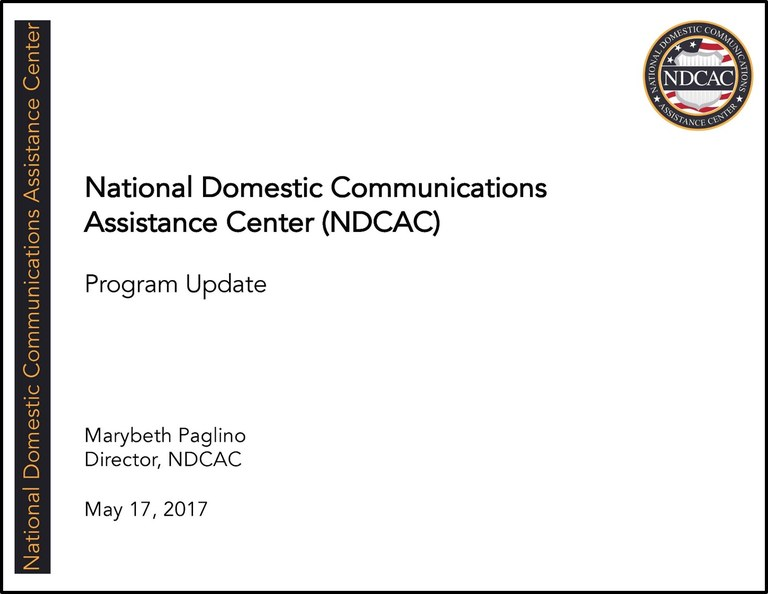NDCAC Director EAB Brief May 17 2017 Title Slide