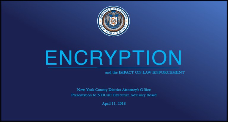 Encryption and Impact on Law Enforcement Title Slide