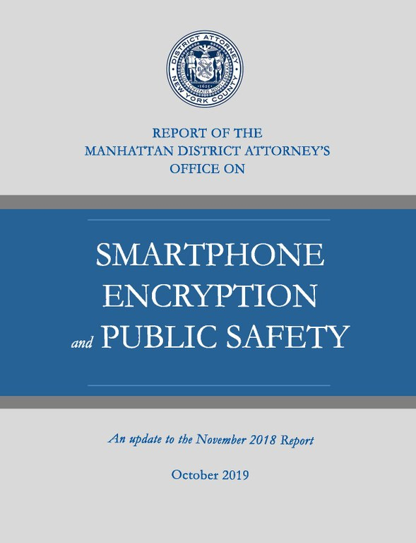 2019 Report on Smartphone Encryption and Public Safety Title Slide