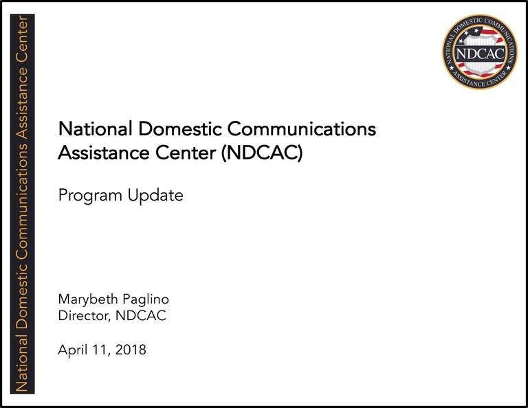NDCAC Director EAB Briefing April 11 2018 Title Slide
