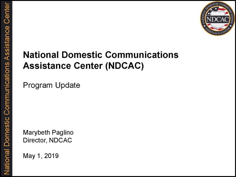 NDCAC Director EAB Briefing May 1 2019 Title Slide